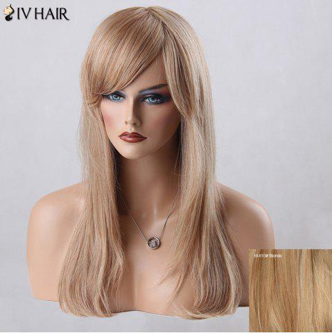 Unique Long Oblique Bang Straight Siv Human Hair Wig BLONDE