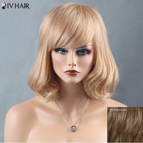Trendy Short Oblique Bang Slightly Wavy Siv Human Hair Wig LIGHT CHOCOLATE