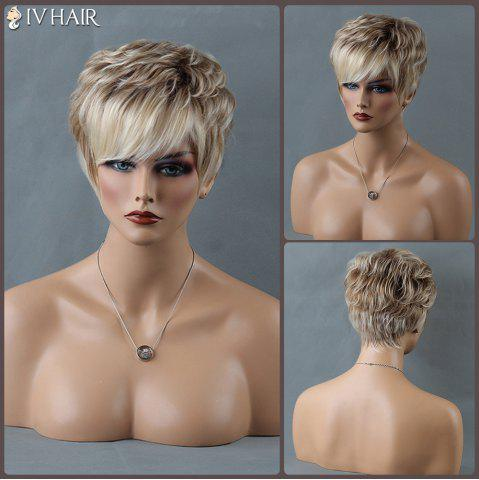 Short Mixed Color Shaggy Side Bang Curly Siv Human Hair Wig - Colormix