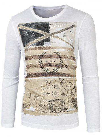Latest Long Sleeve Round Neck Graphic Printed Tee