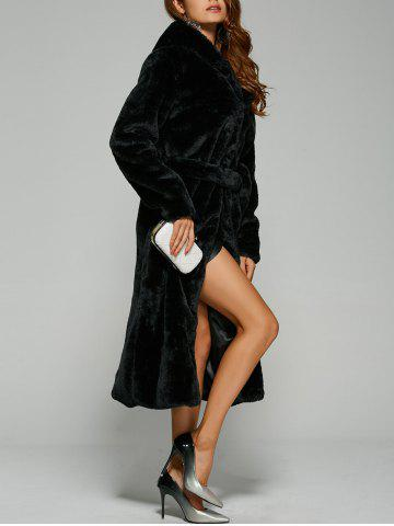 Unique Warm Faux Fur Hooded Wrap Coat