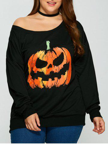 Affordable Pullover Skew Neck Pumpkin Print Sweatshirt