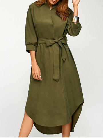 Buy Asymmetric Casual Wrap Midi Dress with Belt ARMY GREEN L