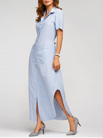 Fancy Summer Vertical Striped Maxi Shirt Dress