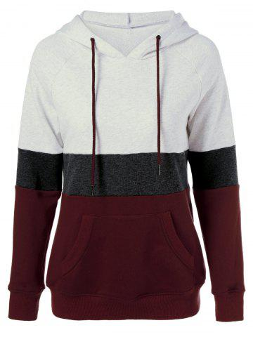 Trendy Plus Size Color Block Hoodie