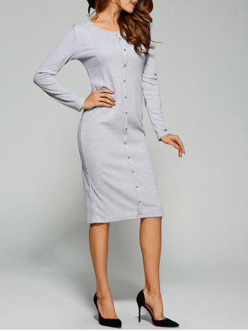 Long Sleeve Button Up Knit Sheath Dress - Light Gray - Xl
