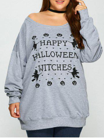 Buy Pullover Letter Witch Print Sweatshirt GRAY 3XL