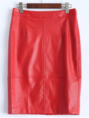 Faux Leather Pencil Skirt - Bright Red - M