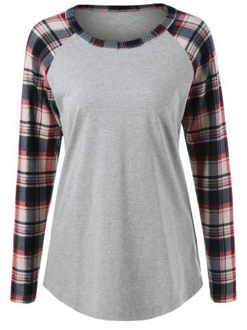 Trendy Plaid Trim Raglan Sleeve Tee DEEP GRAY M