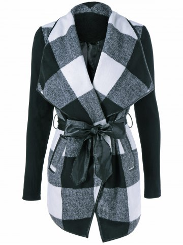 Online Plaid Wrap Waterfall Coat