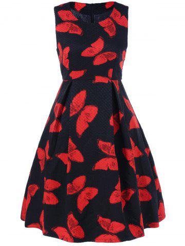 Affordable Butterfly Print Fit and Flare Dress