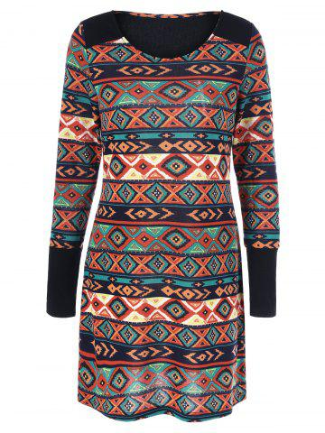 Buy Zipper Decorated Sleeve Aztec Dress