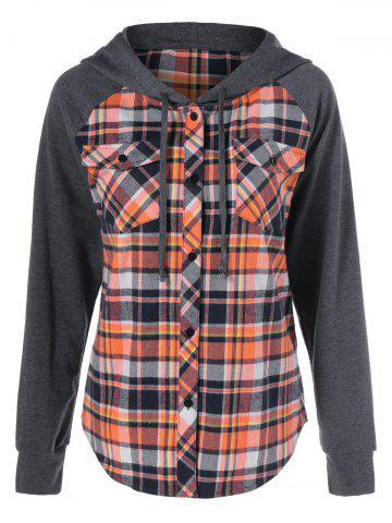 Online Button Up Flap Pockets Plaid Hoodie CHECKED XL