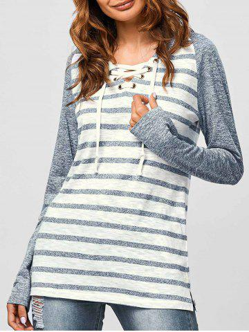 Best Lace-Up Striped Hoodie