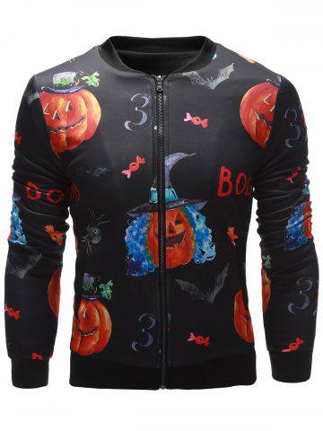 Online 3D Pumpkin Face Printed Zip Up Halloween Jacket