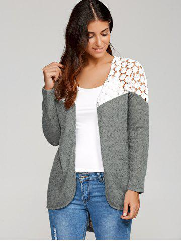 Trendy Lace Patchwork High Low Cardigan