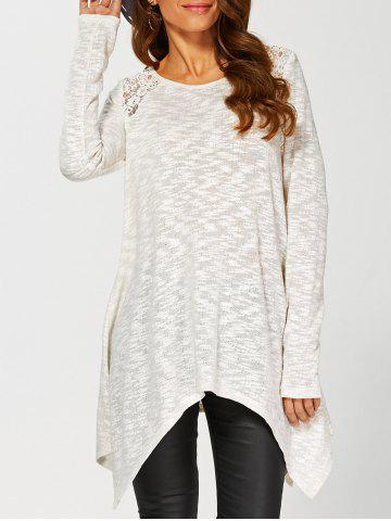 Outfits Lace Insert Asymmetrical Knitwear