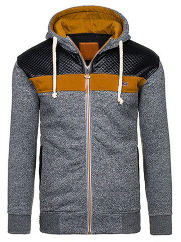 Affordable Quilted Paneled Zip Up Hoodie