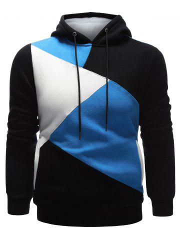 Store Long Sleeve Contrast Paneled Pullover Hoodie