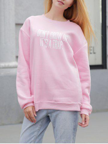 Shops Fleece Casual Letter Print Sweatshirt