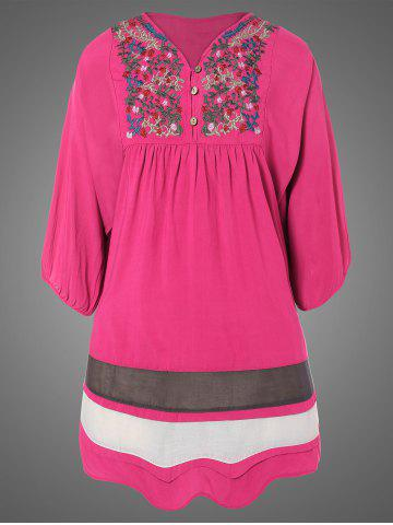Chic Plus Size Embroidered Bib Relaxed Dress ROSE RED ONE SIZE