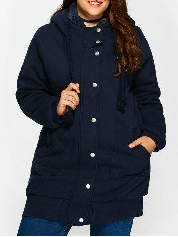 New Buttoned Pockets Design Fleece Hooded Coat CADETBLUE ONE SIZE