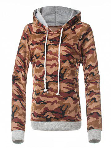Shops Fitted Camo Printing Hoodie RED BROWN S