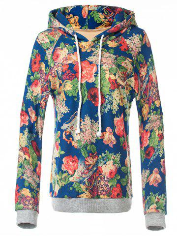 Outfit Retro Floral Painting Pullover Hoodie BLUE XL