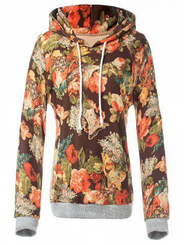 Retro Floral Painting Pullover Hoodie