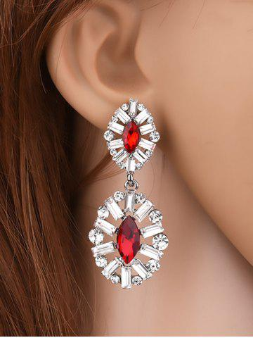 Buy Faux Crystal Rhinestone Waterdrop Earrings RED