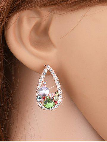 Fancy Colorful Rhinestone Waterdrop Stud Earrings YELLOW