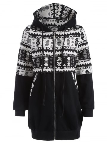 Unique Zip Up Tribal Jacquard Drawstring Hoodie WHITE AND BLACK XL