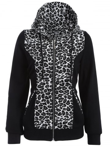 Fancy Zip Up Leopard Jacquard Hoodie WHITE AND BLACK 2XL