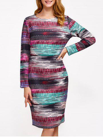 Shops Ornate Printed Slimming Dress COLORMIX 2XL