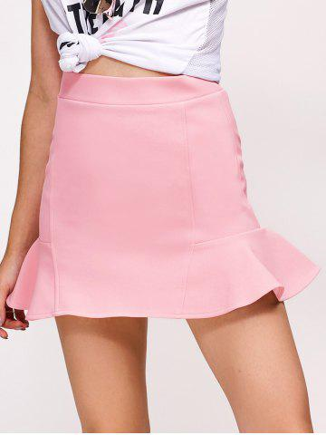 Hot Flounce High Waist Skirt PINK L