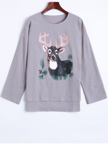 Online Deer Print High Low Linen T-Shirt