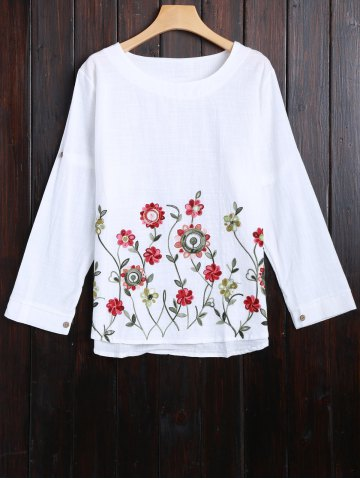 Online Long Sleeve Flower Embroidered Blouse