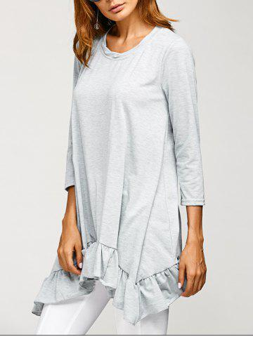 Discount Flounce Hem Asymmetric Long T Shirt