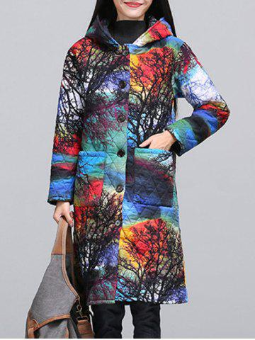 Discount Ethnic Style Color Block Paint Quilted Coat COLORMIX M