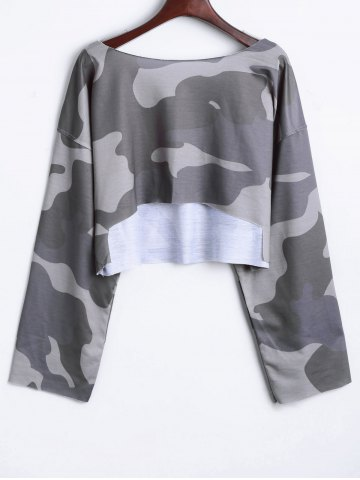 Latest Camouflage Drop Shoulder Crop Top GRAY ONE SIZE