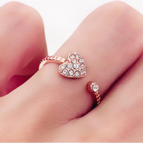 Chic Rhinestone Heart Cuff Ring