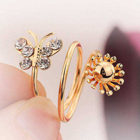 Cheap Rhinestone Layered Butterfly Cuff Ring