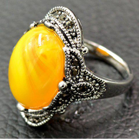 Artificial Gem Oval Engraved Ring - Yellow - 17
