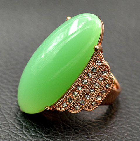 Artificial Gem Rhinestone Oval Ring - GREEN 18