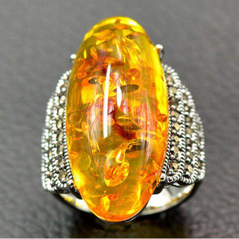Shops Artificial Gemstone Oval Ring - 19 YELLOW Mobile