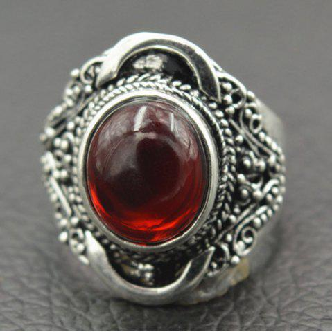 Vintage Engraved Artificial Gemstone Ring - RED 19