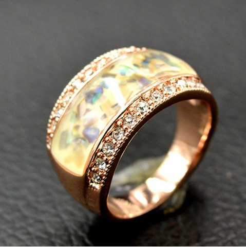 Outfit Rhinestone Natural Stone Insert Ring GOLDEN 18
