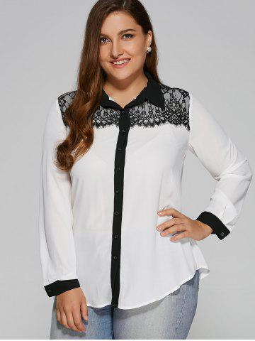 Outfits Plus Size Lace Patchwork Contrast Trim Shirt WHITE AND BLACK XL