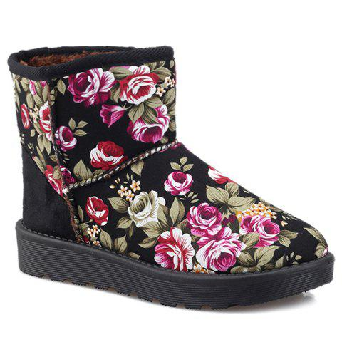 Unique Splicing Floral Print Colour Block Snow Boots