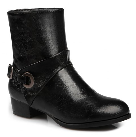 Round Toe Buckle Strap Short Boots - Black - 38